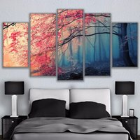 Wholesale cherry blossoms panel paintings resale online - Poster HD Prints Modern Wall Art Canvas For Living Room Pieces Cherry Blossoms Pictures Decor Red Trees Forest Painting