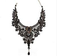 schöne schnürsenkel großhandel-1PCNew Hot Frauen schwarzer Spitze Perlen Halsband viktorianischen Steampunk Stil Gothic Halsband Halskette schönes Geschenk für Frauen