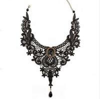 ingrosso il pizzo nero gotico borda il choker-1PCNew Hot Women Black Lace Beads Choker Victorian Steampunk Style Collana con colletto gotico Bel regalo per le donne