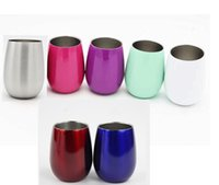 Wholesale china cups lids online - 9oz egg cups Wine Glasses Kids Cups Double Wall Stainless Steel Shaped Wine Glass Cups Outdoors Beer Mugs Wine Tumbler with lids