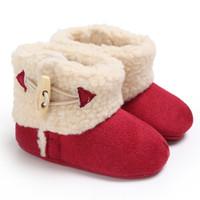 zapatos viejos de goma al por mayor-Invierno 0-1 años de edad, hombres y mujeres bebé de goma cálida fondo anti-esquí botas de bebé zapatos para niños