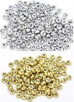 lucitwürfel großhandel-1000 Teile / los Mixed Alphabet Brief Acryl Flache Cube Spacer Perlen charme Für Schmuck Machen 6mm
