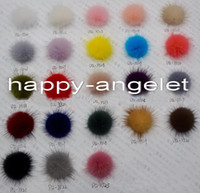Wholesale Mink Balls - 64 pcs in a color 35mm Mink Fur Craft pompon ball pom pom pompoms for clothing shoes Hairpins hair barrettes ornament accessories GR101