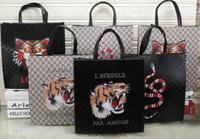 Wholesale Handmade Thanksgiving Cards - SALE 2018 HOT Casual Tote Fashion avant-garde import leather color snake pattern large capacity briefcase handmade tide card universal bag