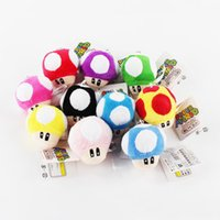 ingrosso capretto di funghi di mario-7 CM Super Mario Bros Luigi Yoshi Toad Funghi Funghi portachiavi peluche Anime Action Figures Giocattoli per bambini regali brithday