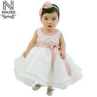 elegante weiße babykleider großhandel-2017 neue Stil Prinzessin Baby Kleid Elegantes Kleid Rosa mit Weiß für Baby Taufe Festival 0-24 Monate Kleidung