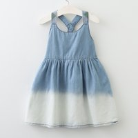 Wholesale Denim Braces - Girls Gradient Denim Skirt Pleated Dress Suspender Round-neck Sleeveless Elastic Vest Dress Breathable Summer Braces Skirt 3-7T