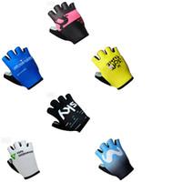 Wholesale men half gloves - 2018 Hot Dimension DATA-MOVISTAR Riding Half finger gloves Shockproof Mountain Bike Short Gloves Men and women Riding Sports gloves A42806