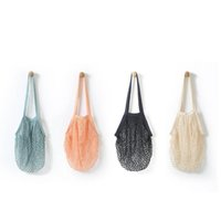 Wholesale Grocery Shopping Bags - Fashion String Shopping Fruit Vegetables Grocery Bag Shopper Tote Mesh Net Woven Cotton Shoulder Bag Hand Totes Home Storage Bag