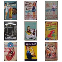 Wholesale posters women for sale - Group buy Pretty Women Drinking Theme Iron Painting For Cafe Bar Hang Create Atmosphere Tins Sign Retro Style Tins Poster cm Z