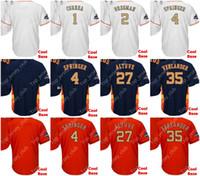 Wholesale army sign - Cool Base Gold Houston Baseball Jersey Men Women Youth Custom Signed Astros 1 Correa 2 Bregman 4 Springer 27 Altuve 35 Justin Verlander