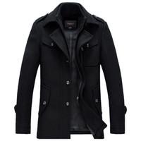 Wholesale mens wool pea coat slim - Winter Wool Coat Men Thick Warm Slim Fit Jackets Outerwear Casual Jacket Mens Pea Coat Plus Size XXXL Overcoat Brand Clothing