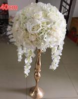 precios de flores de boda azul al por mayor-El nuevo centro de la bola de rosas de marfil artificial citó la decoración de flores para la decoración y el fondo de la fiesta de bodas Road 6pcs / lot