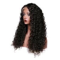 peruca curvada completa da onda venda por atacado-Cabelo Virgem peruano Kinky Curl Cor Preto Rendas Frente Perucas Cheias Do Laço Perucas de Cabelo Humano 150 Densidade Perucas para As Mulheres Brancas