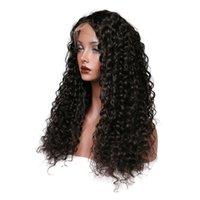 volle kinky curl perücke großhandel-Peruanisches Jungfrau-Haar-verworrene Locken-Farbschwarze Spitze-Front-Perücken Volle Spitze-Menschenhaar-Perücken 150 Dichte-Perücken für weiße Frauen