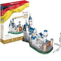la construcción de bloques de castillo juguetes al por mayor-Kits de bloques de construcción Rompecabezas clásico 3D Rompecabezas Alemania Castillo Iluminar Construcción Ladrillo Juguetes Modelos a escala Conjuntos Papel educativo