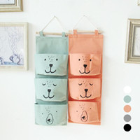 Wholesale plastic book storage - Wall Hanging Storage Bags Organizer Linen Closet Children Room Organizer Pouch For Toys Books Cosmetic Sundries 3 Pockets G30