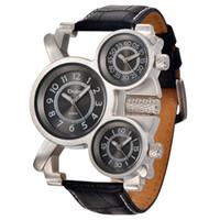 relógio de zona venda por atacado-Mens Relógios Top Marca de Luxo Famosa Marca dos homens Relógio De Pulso Militar 3 Fuso Horário Masculino Relógio De Couro Relógio de Quartzo Homem CM511