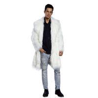 kürk mantolar xxl toptan satış-Erkek Faux Kürk Palto Ceket Kürk Erkekler Siyah Beyaz XXL Kalın Sahte Ceket Erkekler Uzun Ceket Faux Deri Mont