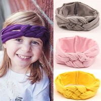 Wholesale Orange Crochet Headbands - Girls Crochet Cross Headbands 11 Color Braided Head Wrap Safety Knot Elastic Hairband Baby Infant Toddler Accessories Boutique