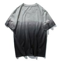 ropa de calle americana al por mayor-Nueva camiseta de verano de los hombres de Europa y América gradiente de manga corta marea de cuello redondo marca High Street par estudiantes ropa de los hombres