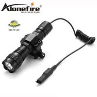 lámparas de caza cree al por mayor-AloneFire CREE 501Bs Linterna táctica LED XML-T6 Luces blancas con interruptor de presión Montaje Lámpara de caza Camping