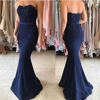Wholesale strapless lace covered evening dress online - Sexy Dark Navy Mermaid Prom Party Dresses Beadings Appliques Strapless Buttons Floor Length Evening Wear Dresses