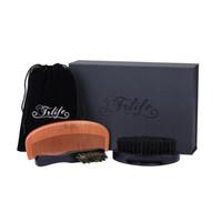 Wholesale Mustache Brush - Boar Bristles Beard Brush and Comb Grooming Kit Set for Men Handmade Peach Wood Pocket Beard Brush and Mustache for Shaving Styling