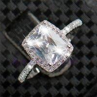 3ct trauringe großhandel-Bestseller 3ct Echt 925 Silber Ring SWA Element Nachgeahmte Diamant Ringe Für Frauen Geschenk Großhandel Hochzeit Engagement Modeschmuck