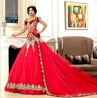 Wholesale golden mermaid gown for sale - Group buy Middle East Arabic Red Formal Evening Dresses Sweetheart with Golden Lace Appliques Cap Sleeve Tulle Celebrity Prom Gowns BC0140