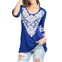 Wholesale wholesale tunic tees for sale - 2018 New Fashion Tops Women s Three Quarter Boho Tunic Shirts Heart Printed Tops Tee T Shirt High Quality camiseta feminina