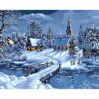 obras de arte de navidad al por mayor-Paisaje de la nieve de la Navidad Pintura de DIY por los números pintura de la lona pintada a mano única para la decoración de la Navidad ilustraciones