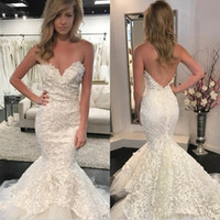 Wholesale custom wedding dress patterns for sale - Group buy 2019 New Vintage Lace Pattern Wedding Dresses D Floral Appliques With Open Back Plus Size Long Mermaid Wedding Gowns
