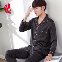 1cdcf6d349 2018 Solid Satin Men Pajama Sets Summer Full Sleeve Autumn Silk Men  Sleepwear Suit Casual Two-Piece Silk Pajamas Man Pyjama XXXL