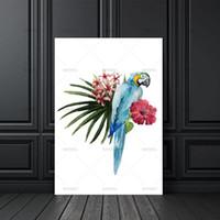 ingrosso immagini dell'uccello del fumetto-Tela pittura di arte della parete Moderna Nordic Bird Flower Stampe Poster Cartoon Wall Pictures Tela Pittura Senza Cornice Kids Room Decor