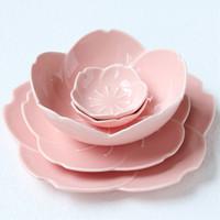 ingrosso set di stoviglie-5 pz / set Rosa Sakura fiore petalo piatto piatti vassoio di frutta insalatiera vassoio spuntino piatti piatti set di stoviglie