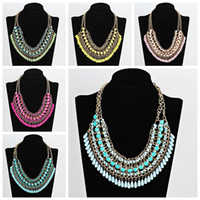 Wholesale elegant chunky necklaces - Hot elegant women bohemia knitting chunky necklace choker bib statement collar necklace jewelry