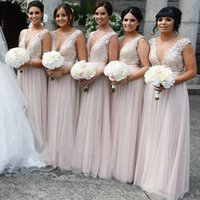 Wholesale dresses for women coral pink resale online - Deep V neck Long Bridesmaids Dresses Cap Short Sleeves Pearl Pink Chiffon Backless Lace Prom Formal Dress Gowns For Women Girls Cheap