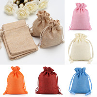 Wholesale New Burlap Jute Gifts Bags For Christmas Plain Vintage Wedding Xmas Party Favor Candy Gift Package Wrap Bags WX9