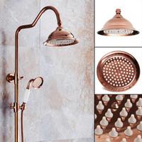 chuveiros de chuveiro de cromo venda por atacado-Novo 8 polegada Antique Vintage Red Copper Rose Gold Rodada Do Banheiro Chuveiro de Chuva Cabeça Casa de Banho Produto