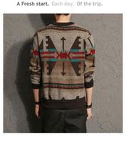 patrones que hacen punto para hombre suéteres al por mayor-Hombres Marca de moda Suéter Jersey Suéter Hombre O-cuello Patrón Baggy Knitting Hombres Otoño Invierno Suéteres Casual prendas de punto f Mujeres Nuevo