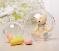ingrosso artigianato decorativo di natale-Clear Hanging Ball Round Baubles Decorazione dell'albero di Natale Oggetti decorativi di plastica Scatole regalo di Natale Decor Ornament ball