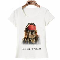 дизайн панк-майка оптовых-Cool Schnauzer Pirate Print T-Shirt New Summer Women T-Shirt Funny Dog Design Girl Casual Tops Punk Style Simple Woman Tees