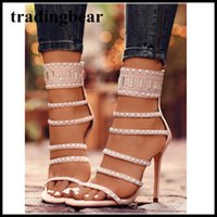 Wholesale Sexy Club Heels - Sexy black beaded rhinestone open toe single sole high heels ladies party club shoes 2 colors size 35 to 40