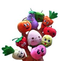 marionetas de frutas vegetales al por mayor-LeadingStar 10PCS / Set Fruit Vegetable Puppets Finger Story Doll Niños Niños Bebé Juguetes Educativos zk15