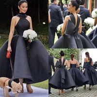 Wholesale Kinder Dresses - 2018 New Designed Black Bridesmaid Ball Gown Ankle Length Sleeveless Three Kinds Of Wedding Guest Garden Gowns Customized Cheap