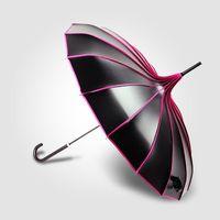 Wholesale Vinyl Coat Black - Pagoda Vinyl Sun Umbrella Long Handle Sunscreen UV Sunshade Creative Lady Black Umbrella 5 Colors Mixed