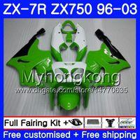 ingrosso luci zx-Corpo per KAWASAKI NINJA ZX 7R ZX750 ZX7R 96 97 98 99 203HM.4 Verde chiaro bianco ZX-750 ZX 7 R ZX 750 ZX-7R 1996 1997 1998 1999 2003 Carena