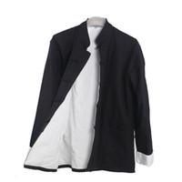 chinesische traditionelle männer passt großhandel-Männer Casual Doppeldeck-Jacke Herbst-Winter-Mantel Traditionelle Chinesische Tang-Anzug Mantel Tai Chi Uniform Baumwolle Tops
