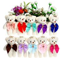 bouquets de urso venda por atacado-Candy Bow Urso De Pelúcia Brinquedos de Cetim Dos Desenhos Animados Buquê de Pelúcia Boneca Urso de Casamento Crianças Brinquedo Telefone Pingente de Chave para o Presente de Natal
